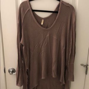 Free People V Neck Waffle Knit Thermal Tunic